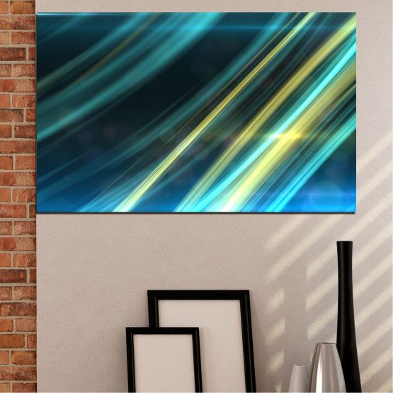 Canvas prints & wall decorative panels - 1 piece №0073 » Blue, Turquoise, Black, Dark grey » Abstraction, Shine, Lines Form #1