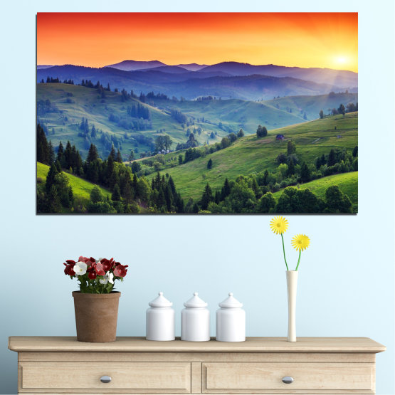 Canvas prints & wall decorative panels - 1 piece №0074 » Red, Blue, Green, Yellow, Black, Dark grey » Nature, Sunset, Forest, Mountain, Meadow Form #1