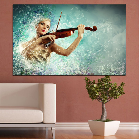 Canvas prints & wall decorative panels - 1 piece №0075 » Turquoise, Gray, White, Beige, Dark grey » Woman, Collage, Art, Music Form #1