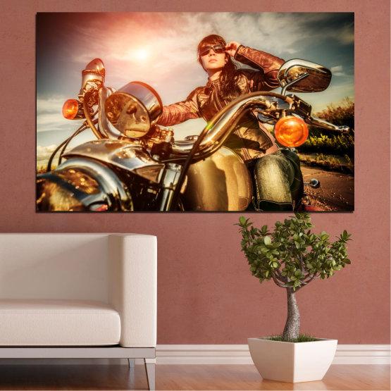 Canvas prints & wall decorative panels - 1 piece №0078 » Brown, Black, Gray, Beige » Woman, Vehicle, Motor Form #1