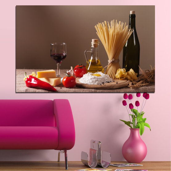 Εκτύπωση σε καμβά και διακοσμητικά πάνελ τοίχου - 1 τεμάχιο №0081 » Καστανός, Μαύρος, Γκρί, Σκούρο γκρι » Μαγειρικός, Ελαιόλαδο, Πάστα Form #1
