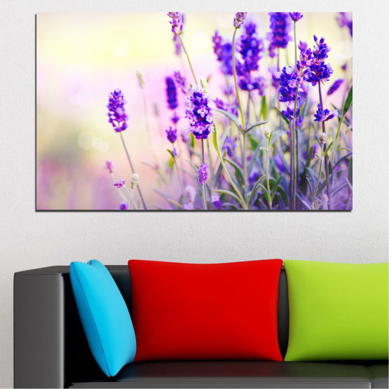 Canvas prints & wall decorative panels - 1 piece №0082 » Purple, Gray, White, Beige » Flowers, Nature, Lavender Form #1
