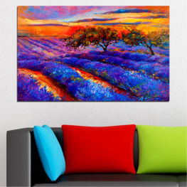 Nature, Flowers, Art, Drawing, Lavender, Field » Red, Purple, Blue, Yellow, Orange, Dark grey
