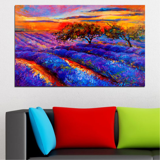 Canvas prints & wall decorative panels - 1 piece №0084 » Red, Purple, Blue, Yellow, Orange, Dark grey » Flowers, Nature, Art, Drawing, Lavender, Field Form #1
