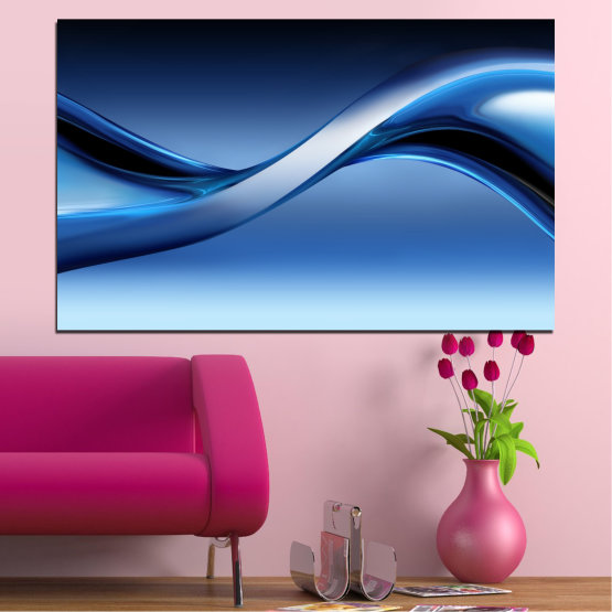 Canvas prints & wall decorative panels - 1 piece №0085 » Blue, Turquoise, Black, Gray, Dark grey » Abstraction, Wave, Lines Form #1