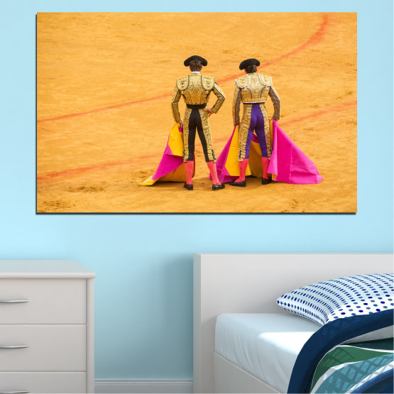 Canvas prints & wall decorative panels - 1 piece №0086 » Red, Pink, Yellow, Orange, Brown » Colorful, Sport, Bullfighter, Arena Form #1