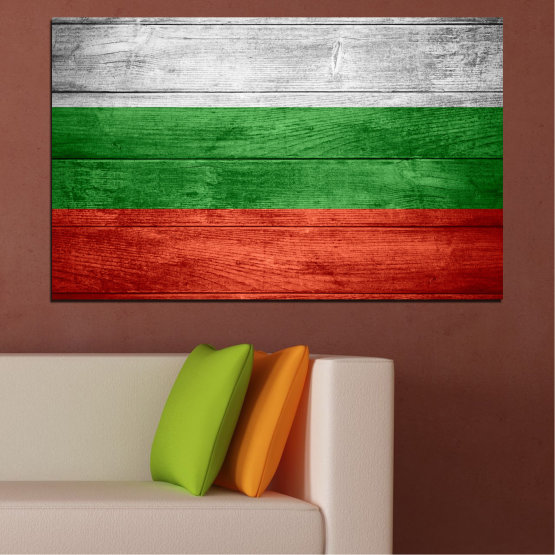Canvas prints & wall decorative panels - 1 piece №0092 » Red, Green, Gray » Bulgaria, Symbol, Flag Form #1