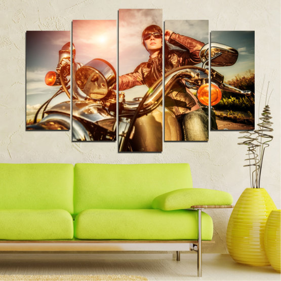 Canvas prints & wall decorative panels - 5 pieces №0078 » Brown, Black, Gray, Beige » Woman, Vehicle, Motor Form #1