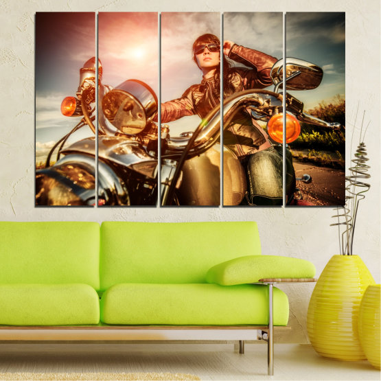 Canvas prints & wall decorative panels - 5 pieces №0078 » Brown, Black, Gray, Beige » Woman, Vehicle, Motor Form #2
