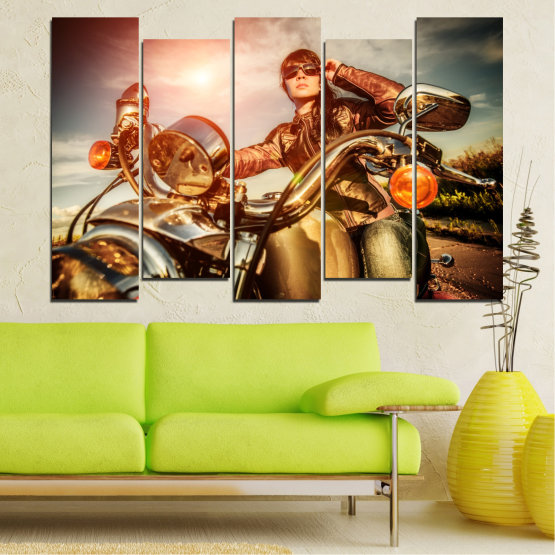 Canvas prints & wall decorative panels - 5 pieces №0078 » Brown, Black, Gray, Beige » Woman, Vehicle, Motor Form #3