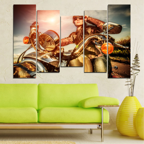 Canvas prints & wall decorative panels - 5 pieces №0078 » Brown, Black, Gray, Beige » Woman, Vehicle, Motor Form #4