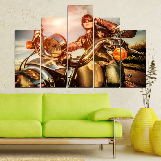 Canvas prints & wall decorative panels - 5 pieces №0078 » Brown, Black, Gray, Beige » Woman, Vehicle, Motor Form #5