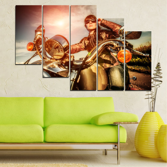 Canvas prints & wall decorative panels - 5 pieces №0078 » Brown, Black, Gray, Beige » Woman, Vehicle, Motor Form #7