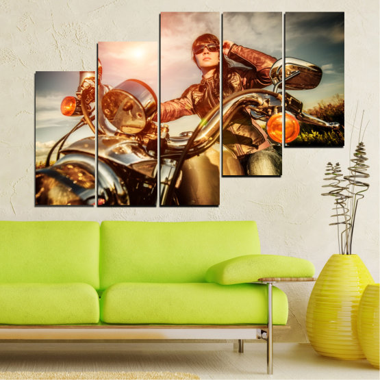 Canvas prints & wall decorative panels - 5 pieces №0078 » Brown, Black, Gray, Beige » Woman, Vehicle, Motor Form #8