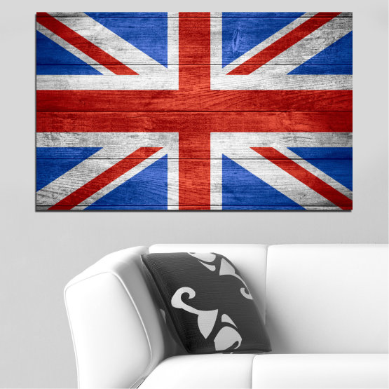 Canvas prints & wall decorative panels - 1 piece №0099 » Red, Blue, White » Symbol, Great britain, Flag Form #1
