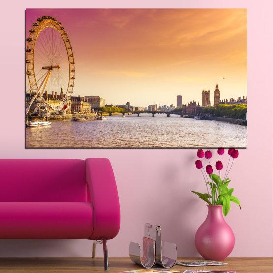 Canvas prints & wall decorative panels - 1 piece №0100 » Yellow, Orange, Brown, Gray, Beige, Milky pink » City, Water, Landmark, Ferris wheel, Austria Form #1