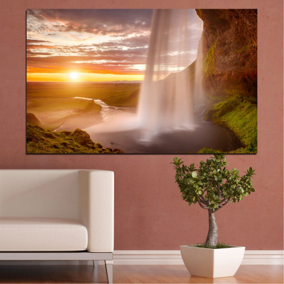 Canvas prints & wall decorative panels - 1 piece №0101 » Orange, Brown, Gray, Beige » Nature, Water, Sunset, Waterfall, River Form #1
