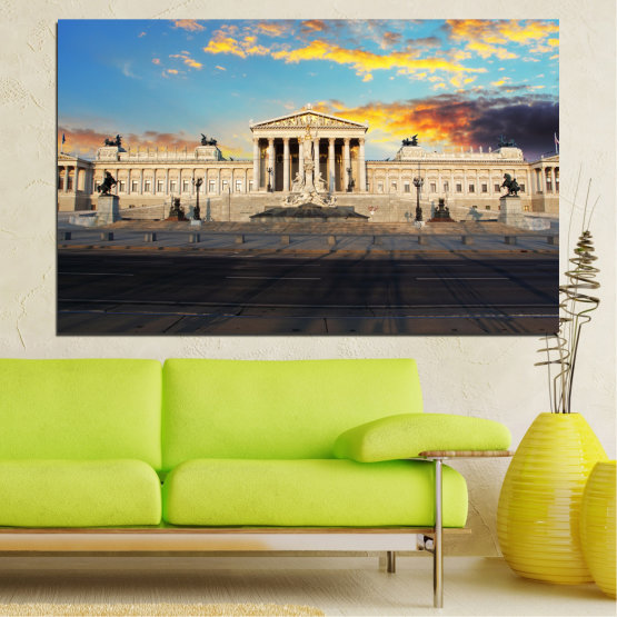 Canvas prints & wall decorative panels - 1 piece №0103 » Turquoise, Black, Gray, Beige, Dark grey » Landmark, Capital, Austria, Parliament Form #1