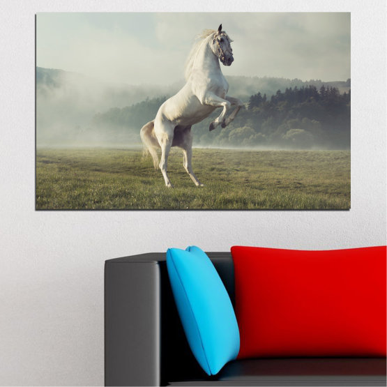 Canvas prints & wall decorative panels - 1 piece №0104 » Brown, Gray, Beige, Dark grey » Nature, Animal, Horse Form #1