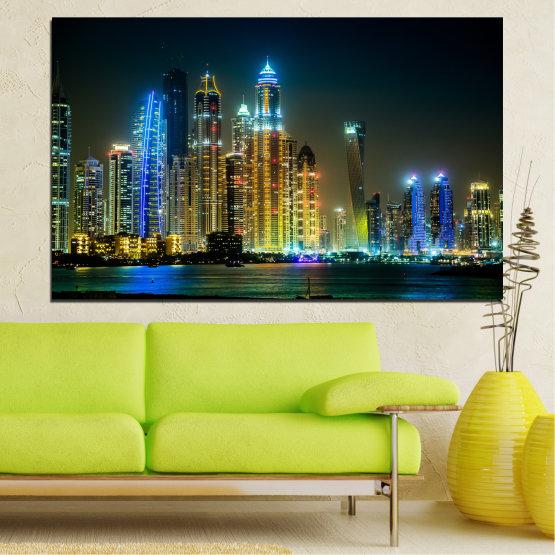 Canvas prints & wall decorative panels - 1 piece №0105 » Blue, Yellow, Orange, Brown, Black, Gray, Dark grey » City, Dubai, Night, Skyscraper Form #1