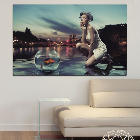 Canvas prints & wall decorative panels - 1 piece №0106 » Turquoise, Brown, Black, Gray, Beige, Dark grey » Water, Woman, City, Collage, Night, Fashion Form #1