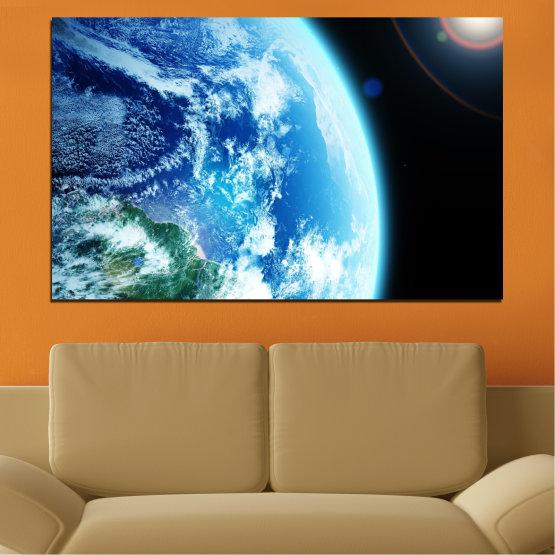Декоративни панели и картини от канава - от 1 част №0107 » Тюркоаз, Черен, Сив, Бял, Тъмно сив » Космос, Планета, Земя Form #1