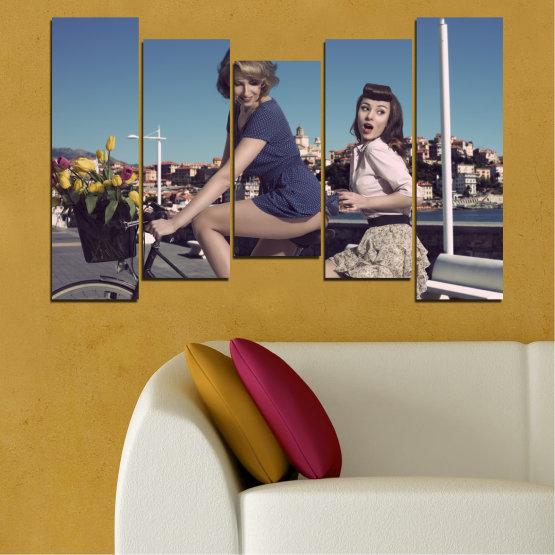 Canvas prints & wall decorative panels - 5 pieces №0079 » Purple, Brown, Black, Gray, Dark grey » Collage, Woman, Vehicle, Fashion Form #4