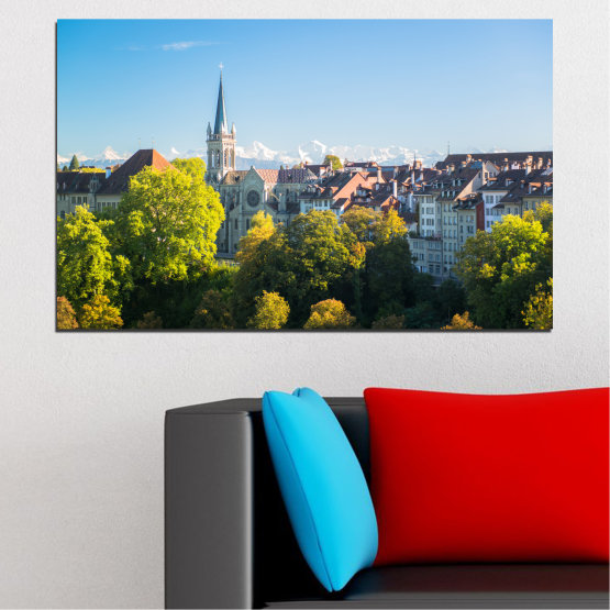 Canvas prints & wall decorative panels - 1 piece №0111 » Turquoise, Green, Black, Gray, Dark grey » City, View, Switzerland, Capital Form #1
