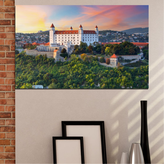 Canvas prints & wall decorative panels - 1 piece №0113 » Brown, Black, Gray, Beige, Dark grey » Landscape, Sunrise, Castle, Europe, Bratislava Form #1