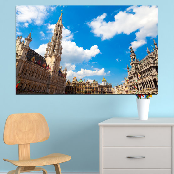 Canvas prints & wall decorative panels - 1 piece №0114 » Blue, Turquoise, Gray, White, Beige, Dark grey » City, Capital, Germany, Cathedral Form #1