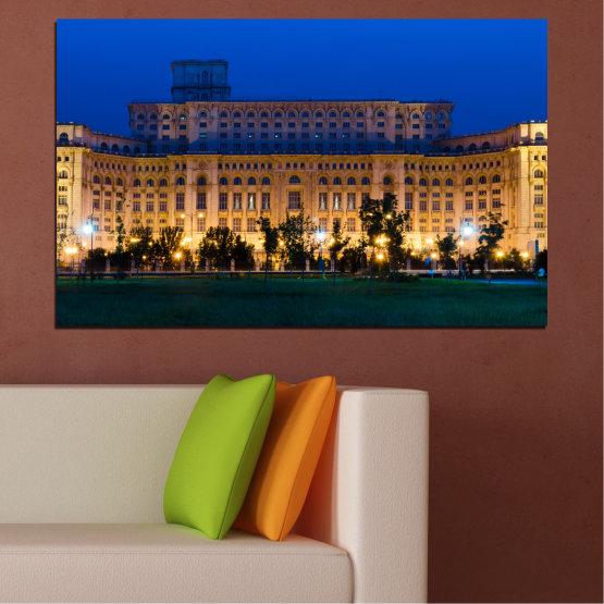 Εκτύπωση σε καμβά και διακοσμητικά πάνελ τοίχου - 1 τεμάχιο №0115 » Μπλε, Καστανός, Μαύρος, Σκούρο γκρι » Πόλη, Κάστρο, Κεφάλαιο, Ρουμανία Form #1