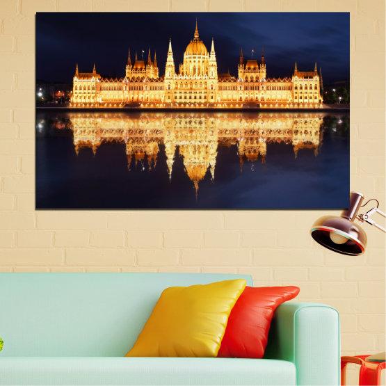 Декоративни панели и картини от канава - от 1 част №0116 » Жълт, Оранжев, Черен, Бежов, Тъмно сив » Град, Нощ, Парламент, Унгария Form #1