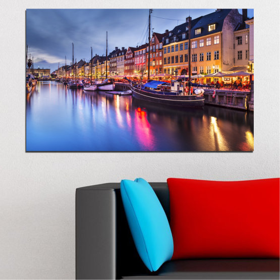 Canvas prints & wall decorative panels - 1 piece №0117 » Purple, Blue, Orange, Black, Gray, Dark grey » Water, City, Night, River, Capital, Boat, Denmark Form #1