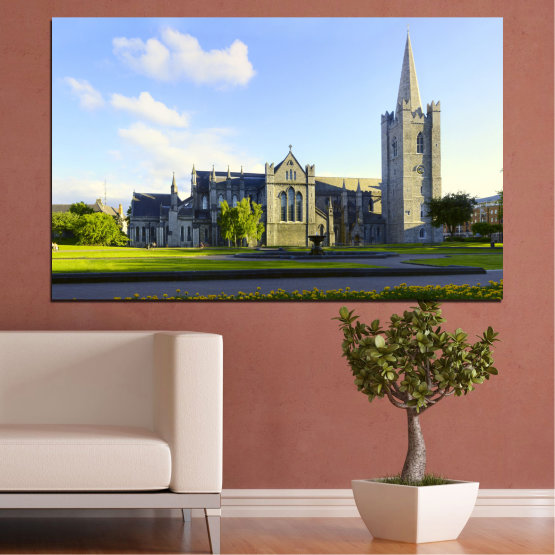 Canvas prints & wall decorative panels - 1 piece №0118 » Blue, Green, Black, Gray, White, Dark grey » City, Castle, Capital, Ireland Form #1