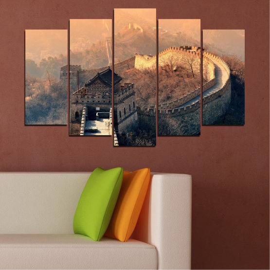 Canvas prints & wall decorative panels - 5 pieces №0008 » Black, Gray, Beige, Dark grey » Landmark, Аsia, China Form #1