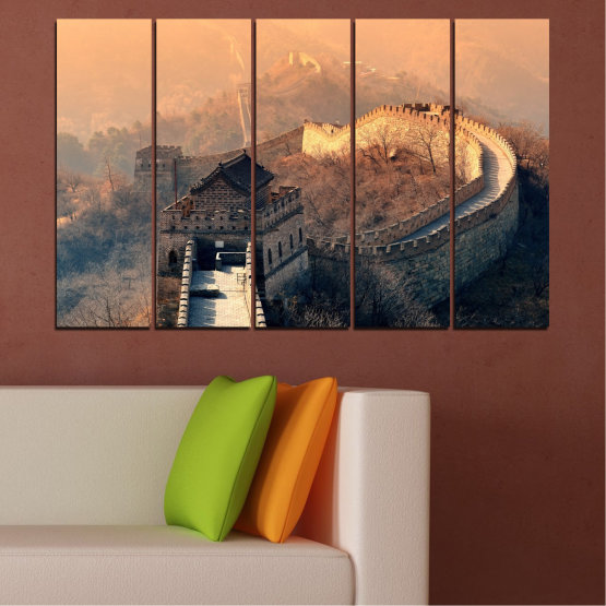 Canvas prints & wall decorative panels - 5 pieces №0008 » Black, Gray, Beige, Dark grey » Landmark, Аsia, China Form #2