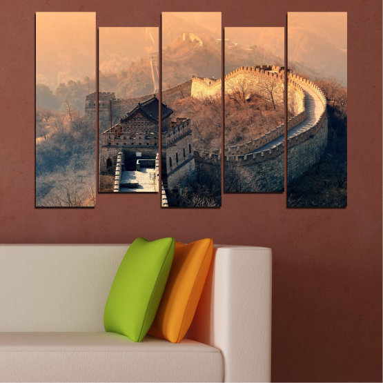 Canvas prints & wall decorative panels - 5 pieces №0008 » Black, Gray, Beige, Dark grey » Landmark, Аsia, China Form #3