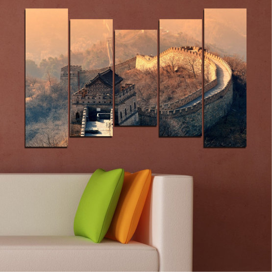 Canvas prints & wall decorative panels - 5 pieces №0008 » Black, Gray, Beige, Dark grey » Landmark, Аsia, China Form #4