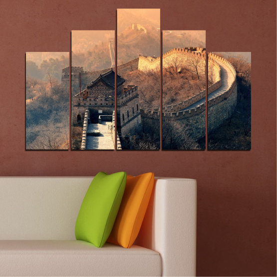 Canvas prints & wall decorative panels - 5 pieces №0008 » Black, Gray, Beige, Dark grey » Landmark, Аsia, China Form #5