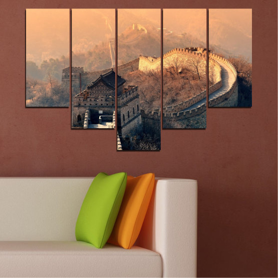 Canvas prints & wall decorative panels - 5 pieces №0008 » Black, Gray, Beige, Dark grey » Landmark, Аsia, China Form #6