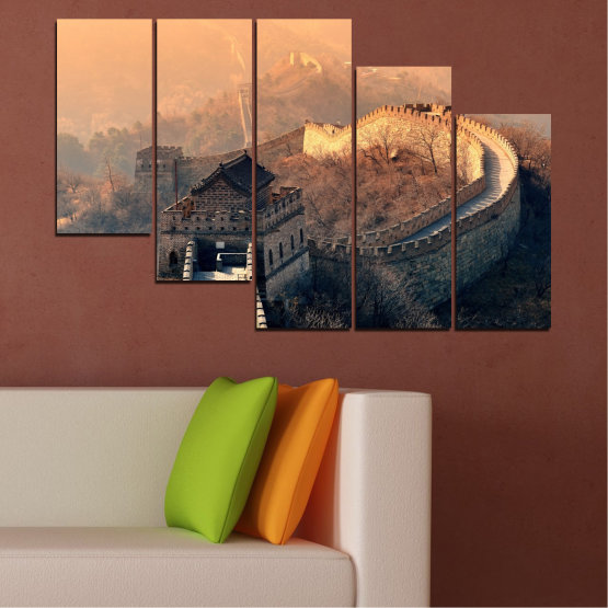 Canvas prints & wall decorative panels - 5 pieces №0008 » Black, Gray, Beige, Dark grey » Landmark, Аsia, China Form #7