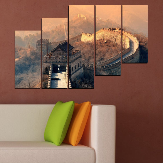 Canvas prints & wall decorative panels - 5 pieces №0008 » Black, Gray, Beige, Dark grey » Landmark, Аsia, China Form #8