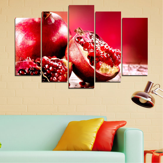 Canvas prints & wall decorative panels - 5 pieces №0080 » Red, Black » Culinary, Still life, Fruits, Pomegranate Form #1