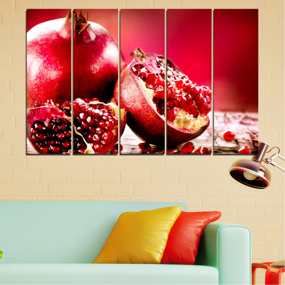 Canvas prints & wall decorative panels - 5 pieces №0080 » Red, Black » Culinary, Still life, Fruits, Pomegranate Form #2