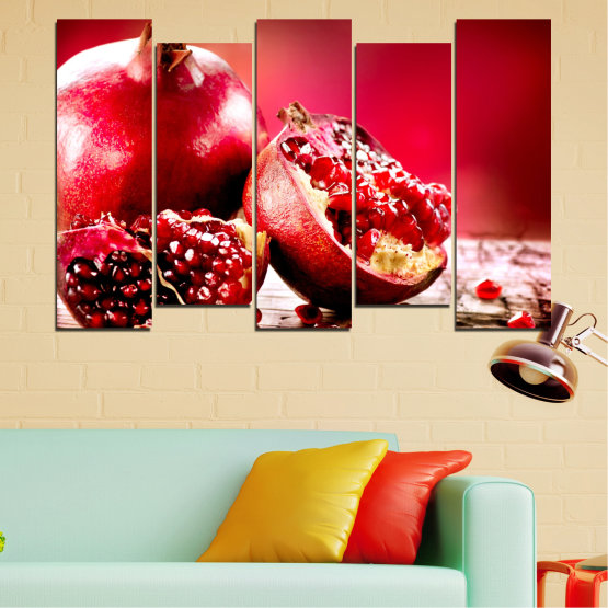 Canvas prints & wall decorative panels - 5 pieces №0080 » Red, Black » Culinary, Still life, Fruits, Pomegranate Form #3