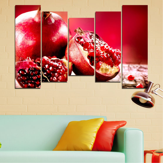 Canvas prints & wall decorative panels - 5 pieces №0080 » Red, Black » Culinary, Still life, Fruits, Pomegranate Form #4