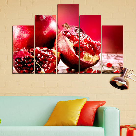 Canvas prints & wall decorative panels - 5 pieces №0080 » Red, Black » Culinary, Still life, Fruits, Pomegranate Form #5