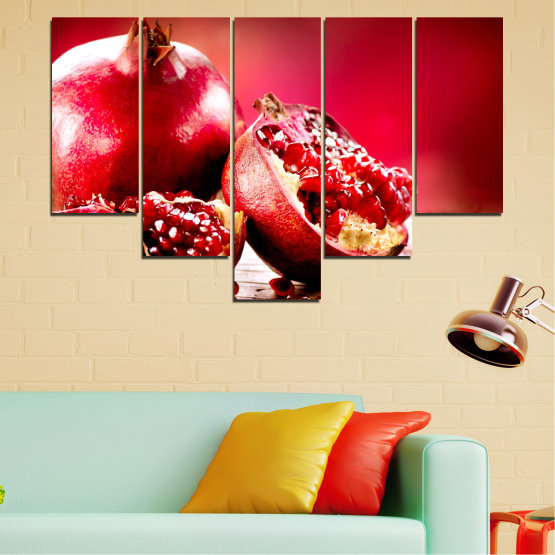 Canvas prints & wall decorative panels - 5 pieces №0080 » Red, Black » Culinary, Still life, Fruits, Pomegranate Form #6