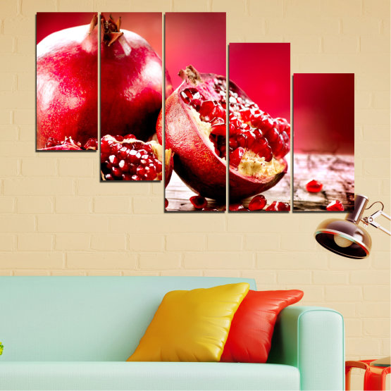 Canvas prints & wall decorative panels - 5 pieces №0080 » Red, Black » Culinary, Still life, Fruits, Pomegranate Form #7
