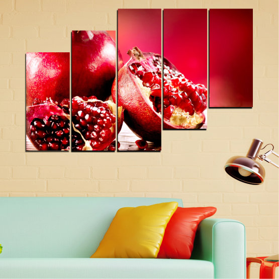 Canvas prints & wall decorative panels - 5 pieces №0080 » Red, Black » Culinary, Still life, Fruits, Pomegranate Form #8